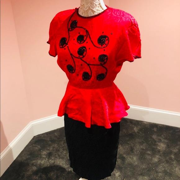 Vintage Dresses & Skirts - Vintage SILK peplum sequin dress